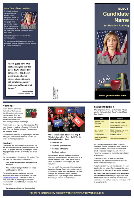 School Board Brochure Templates - Slate Blue / Yellow / Apple