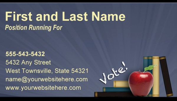 School Board Business CardTemplates - Slate Blue / Yellow / Apple