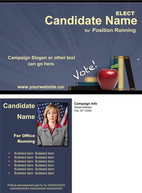 School Board Post Card Templates - Slate Blue / Yellow / Apple