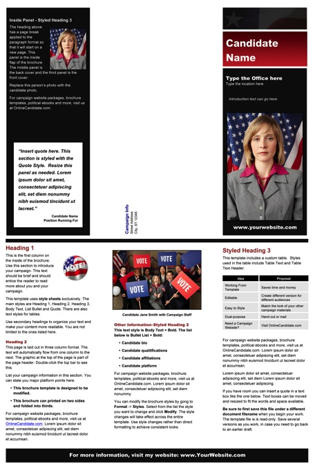 Political Brochure Templates - Black & Red Stripe with Flag Theme