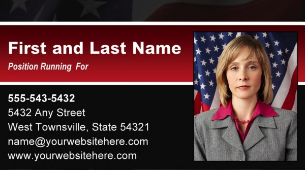 Political Business Card Templates - Black & Red Stripe with Flag Theme