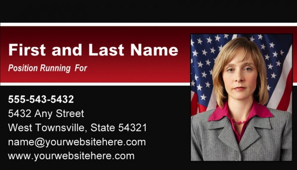 Political Business Card Templates - Black and Red Stripe Theme