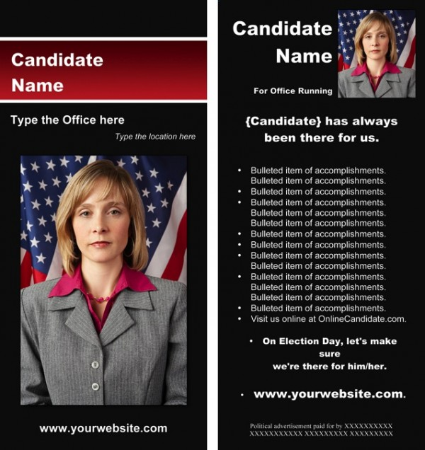 Political Rack Card Templates - Black and Red Stripe Theme