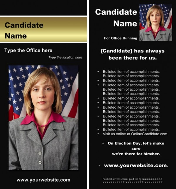 Political Rack Card Templates - Black and Gold Stripe Theme