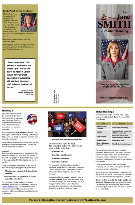 Judges and Judicial Candidate Brochure Template - Gold Theme