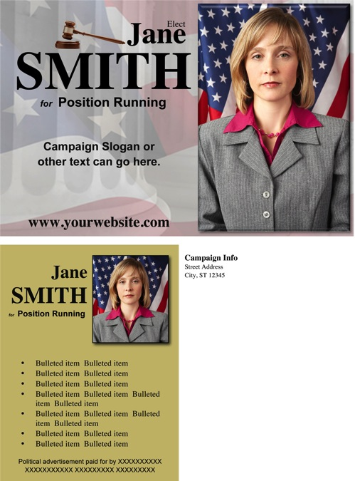 Judges and Judicial Candidate Post Card Templates - Gold Theme