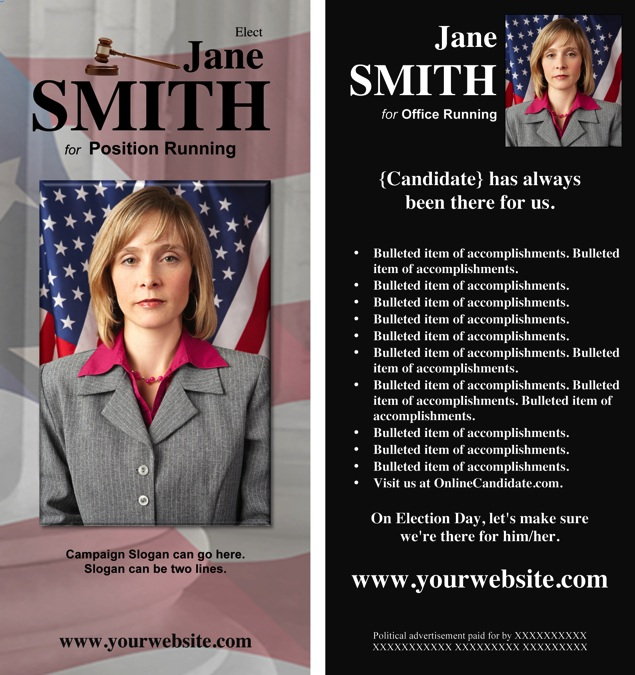 Judges and judicial candidate print templates black for Political brochure templates