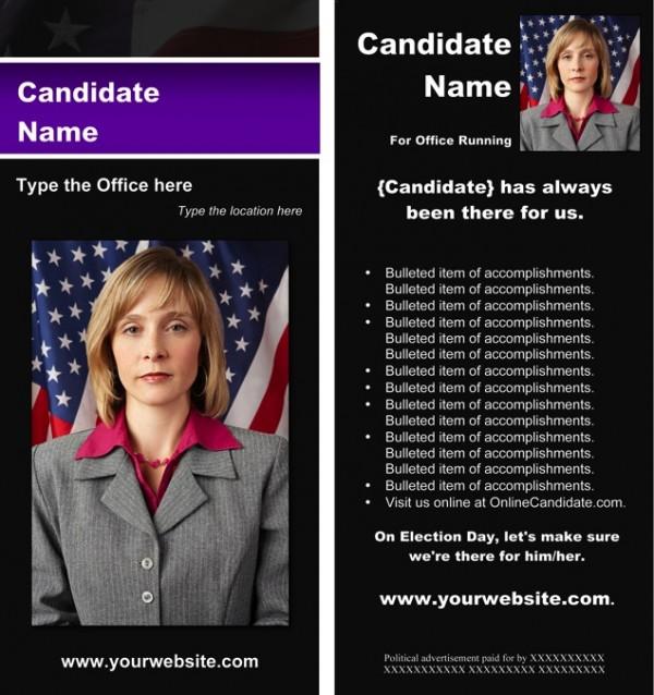 Political Rack Card Templates - Black & Purple Stripe with Flag