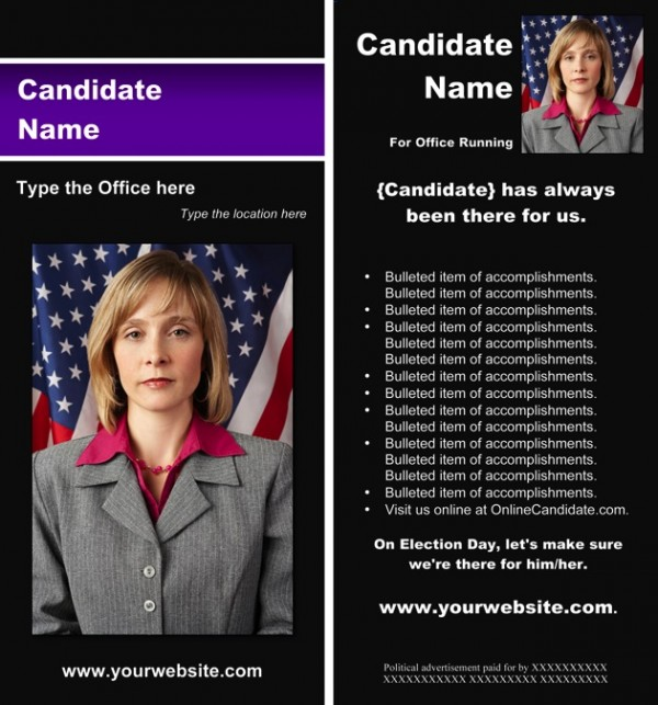 Political Rack Card Templates - Black & Purple Stripe Theme