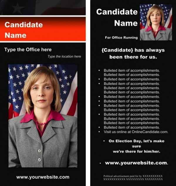 Political Rack Card Templates - Black & Orange Stripe with Flag