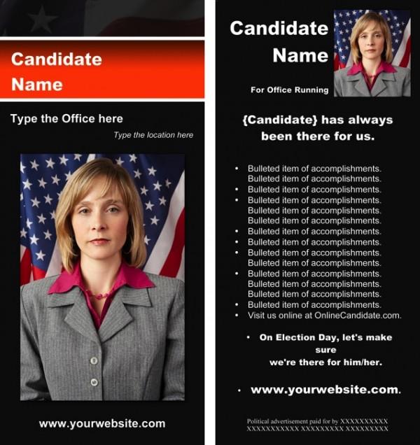 Political Rack Card Templates - Black & Orange Stripe with Flag