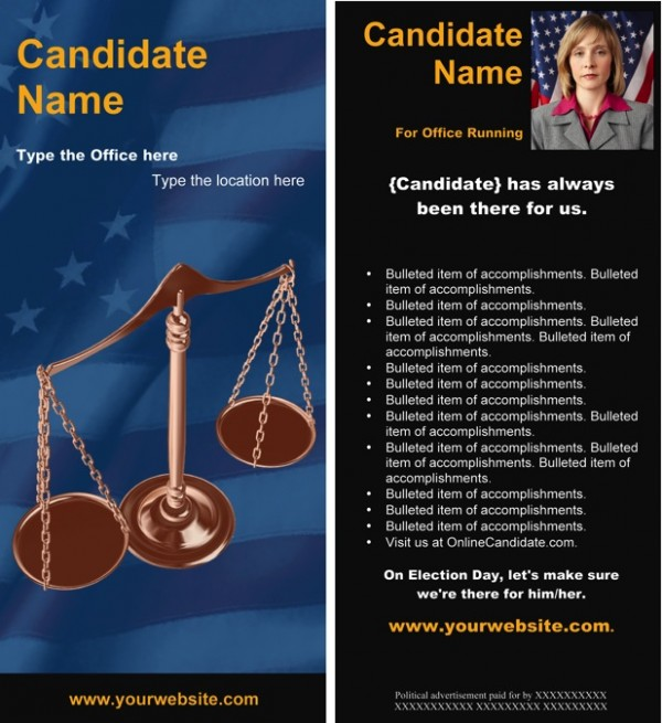 Judges and Judicial Candidate Rack Card Templates - Blue and Black