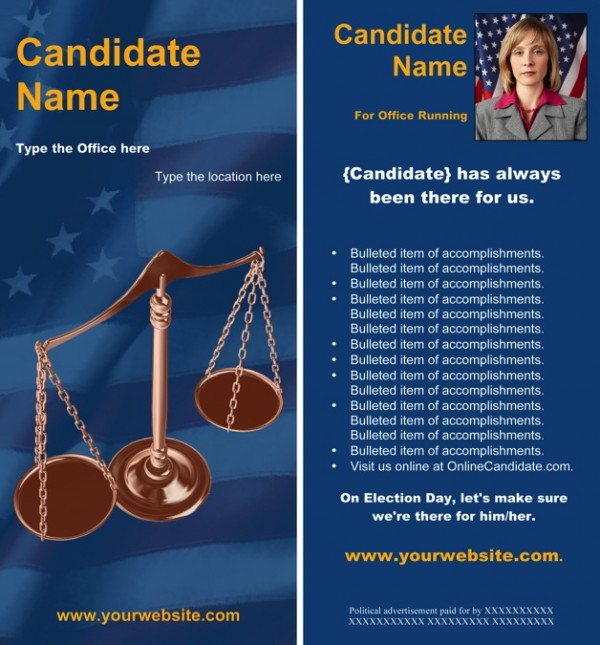 Judges and Judicial Candidate Rack Card Templates - Patriotic Theme