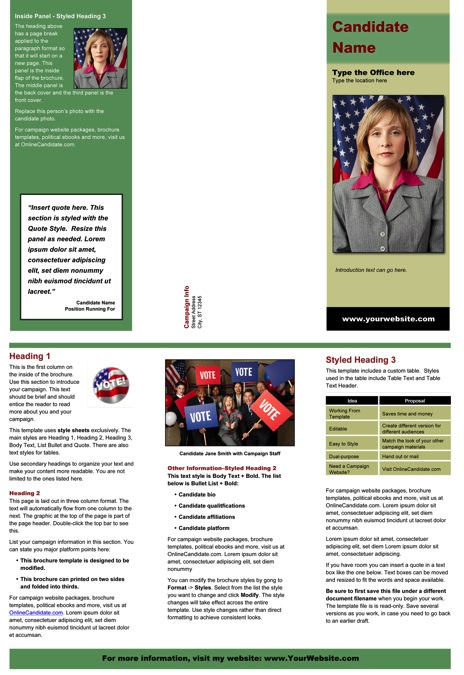 Political Brochure Templates  Green And Tan Theme  Online Candidate