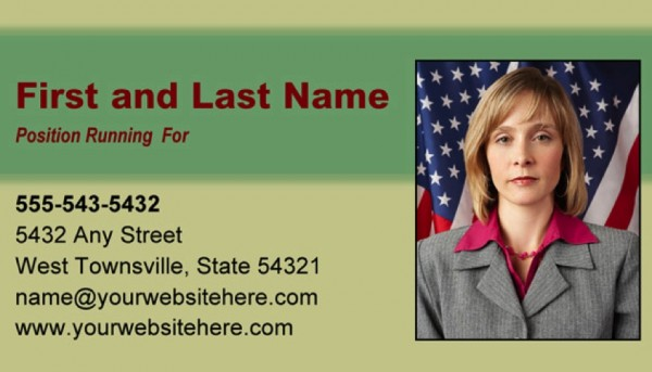 Political Business Card Templates - Green and Tan Theme