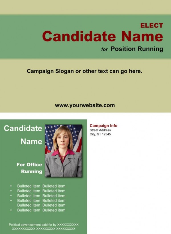 Political Post Card Templates - Green and Tan Theme