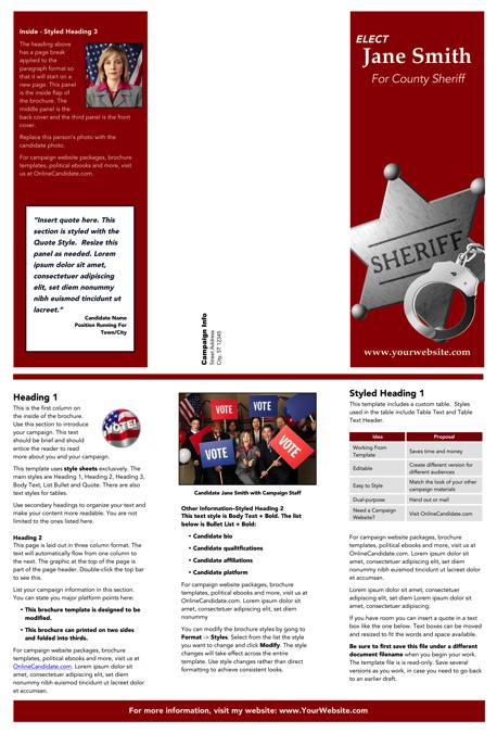 Sheriff Candidate Brochure Templates - Red Theme