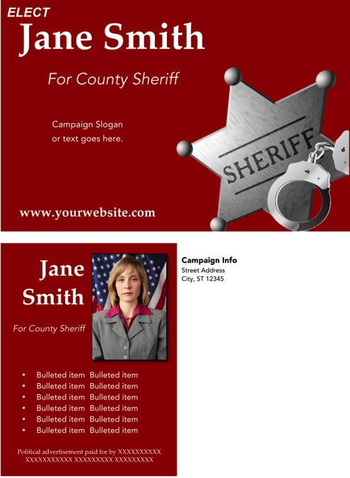 Sheriff Candidate Post Card Templates - Red Theme