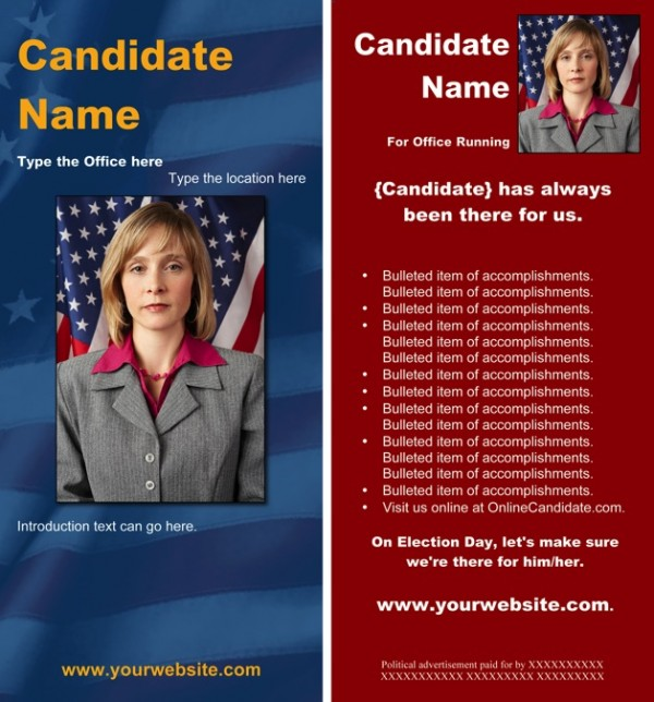 Political Rack Card Templates - Blue and Red Patriotic Theme
