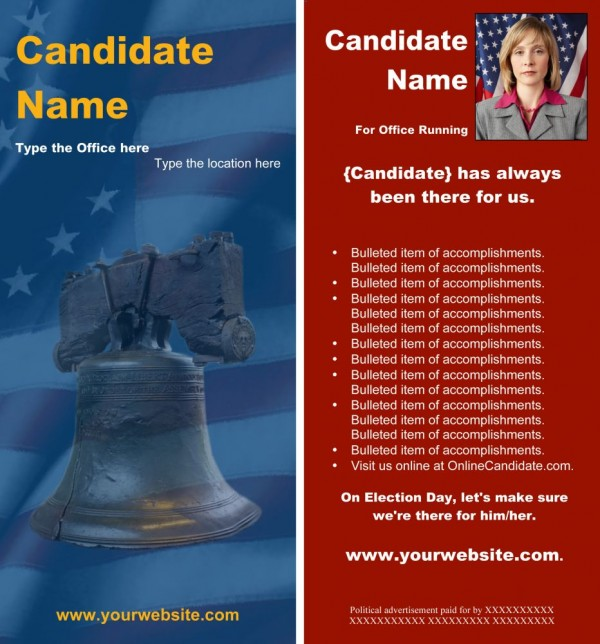 Political Rack Card Templates - Blue and Red Liberty Bell Theme