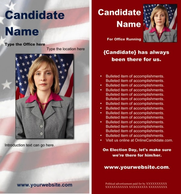 Political Rack Card Templates - Red Patriotic Theme