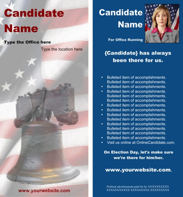 Political Rack Card Templates - Blue Liberty Bell Theme