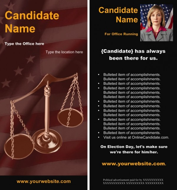 Judges and Judicial Candidate Rack Card Templates - Red Black Scales