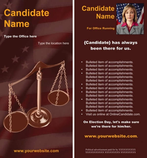 Judges and Judicial Candidate Rack Card Templates - Red Scales