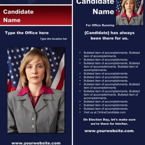 Political Rack Card Templates - Blue & Red Stripe Theme with Flag