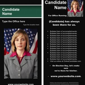 Political Rack Card Templates - Black and Green Stripe Theme