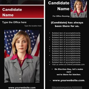 Political Rack Card Templates - Black & Red Stripe with Flag Theme